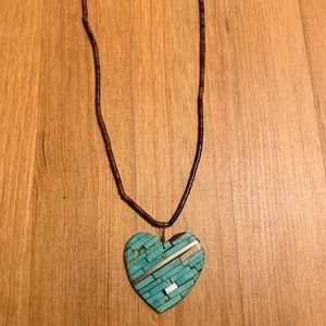 Turquoise Heart Beaded Necklace